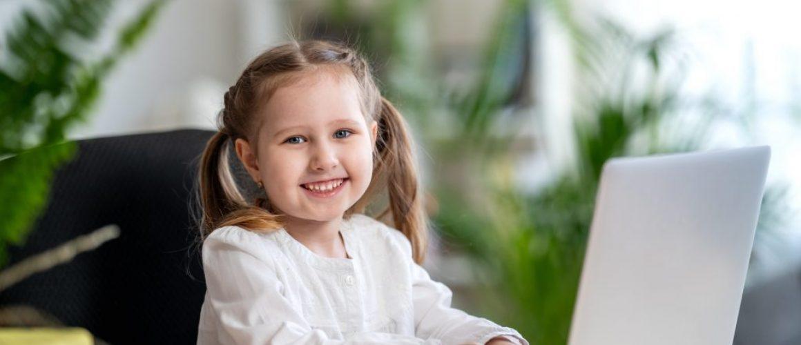 Little Girl Using Digital Laptop E-learning Concept, digital e-learning concepts
